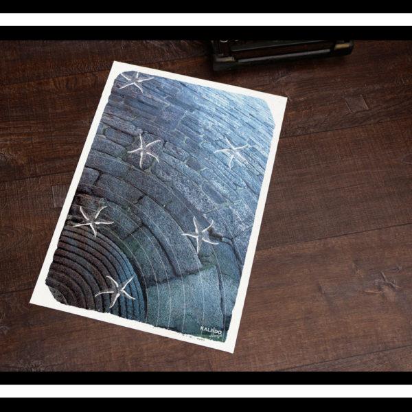 affiche bretagne : granit et étoiles de mer pour une déco de chambre bretonne
