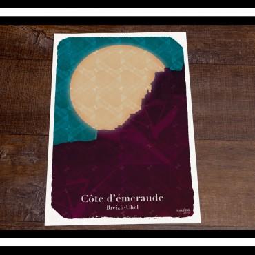 affiche bretagne : Silhouette de la côte d'émeraude