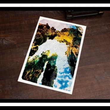 affiche bretagne : Brise lames et rêverie de plage bretonne - saint-malo
