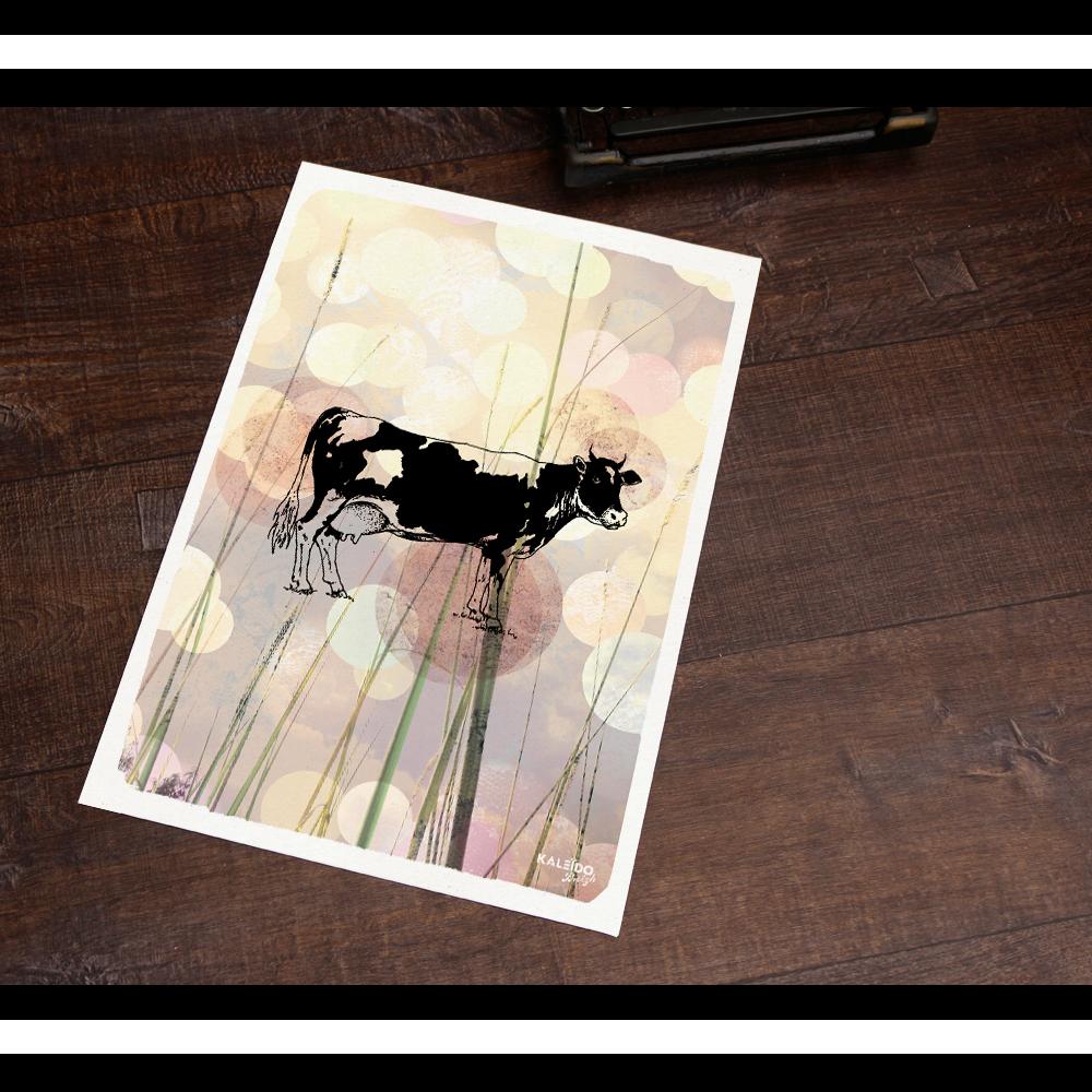 affiche bretagne : Vache bretonne campagne