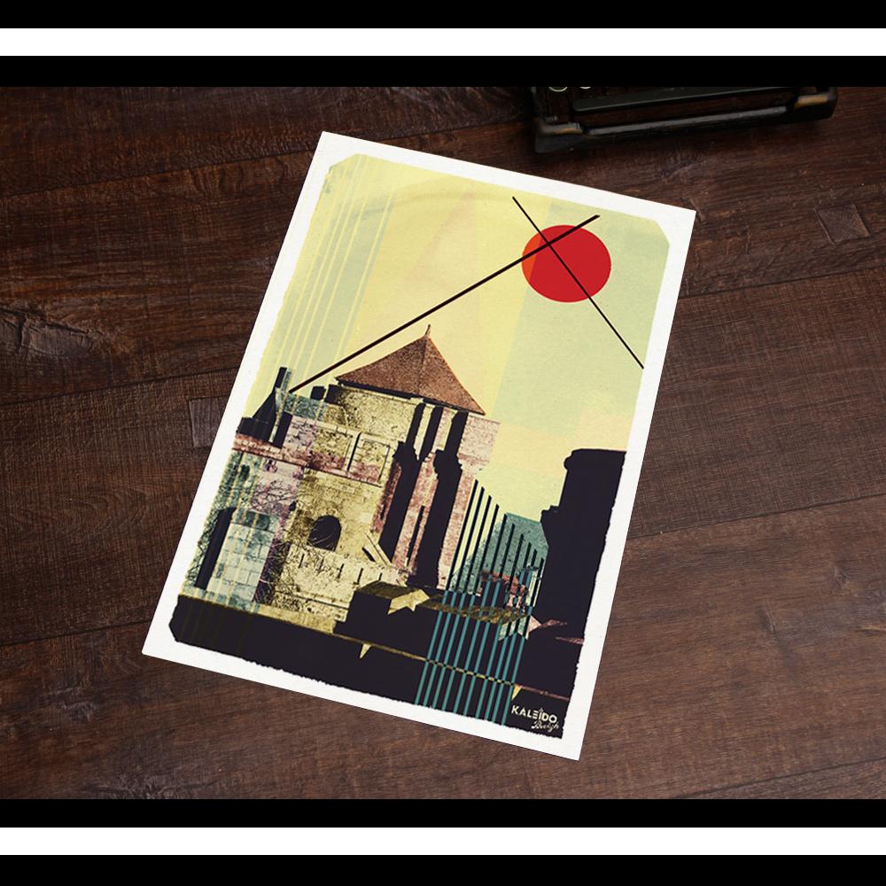 affiche bretagne : vue originale de saint-malo version japonisante