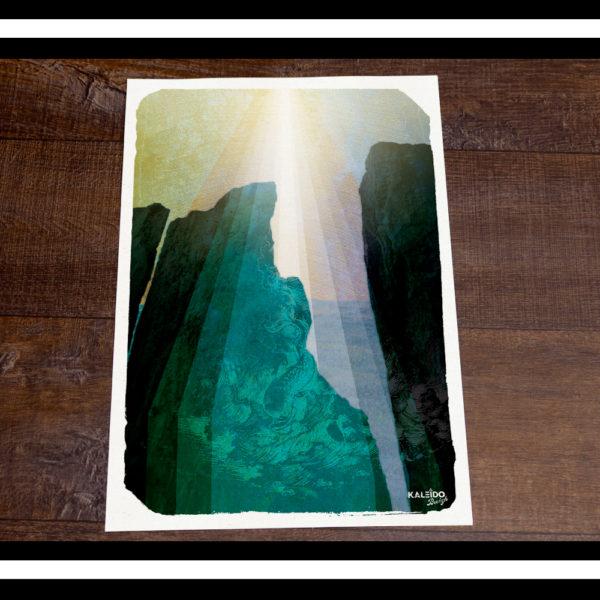 affiche bretagne : falaise et légendes de la mer en Bretagne