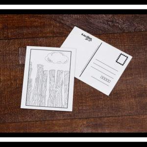 carte postale à colorier st-Malo brise-lame